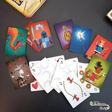 Avis et test jeu de société enfants - perlin pinpin de Cocktail Games - jeu de cartes mathématiques - chance et hasard - médiéval