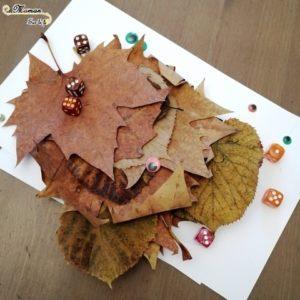 Activité enfants - monstres avec feuilles mortes et dés - jeu de dénombrement - activité créative d'automne - mslf