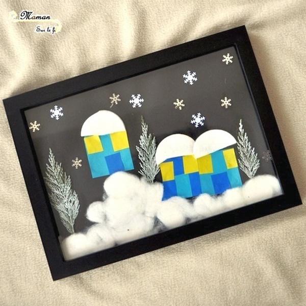 activité enfant - créer un paysage hivernal - collage de flocon, coton, thuyas peints pour sapins - neige, maison, village, nuit - mslf