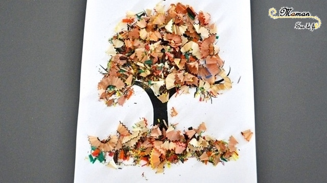 Activité enfant - arbre d'automne en taillures de crayons - bricolage créatif - collage -mslf