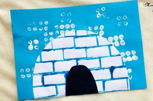 Activité enfants créative - peinture igloo avec brique Duplo - peinture blanche pour neige - bleu pour igloo - hiver et banquise - mslf