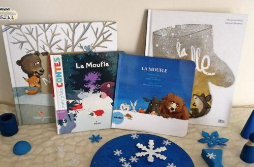 Comparatif différentes éditions du conte russe La Moufle - Milan, Lito, Encore une fois, Didier Jeunesse - amitié, partage, animaux, hiver