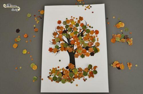 Activité enfant - Arbre d'automne en feuilles mortes perforées - créative et manuelle - perforatrice - motricité fine - mslf