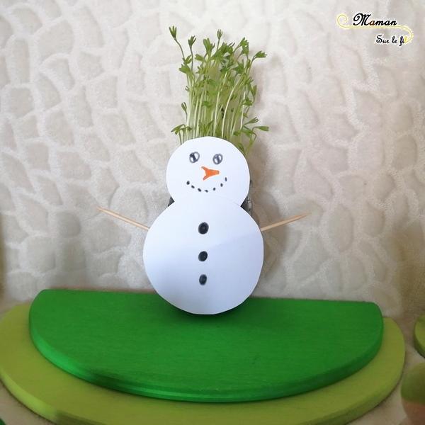 Activité enfants - Créer un bonhomme de neige à coiffer - plantation lentilles - sainte barbe - ciseaux - découper - motricité fine - hiver - mslf