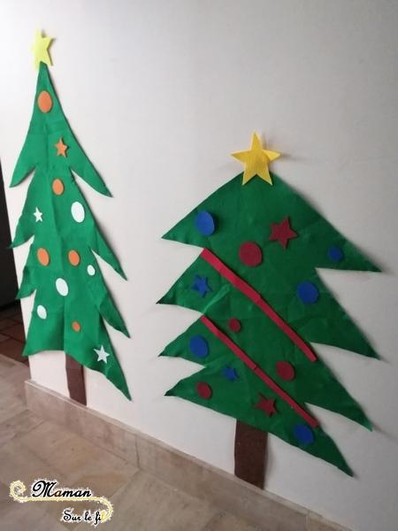 Activité enfants - Fabriquer un sapin géant en feutrine à décorer à volonté - DIY - NOël - art éphémère - mslf