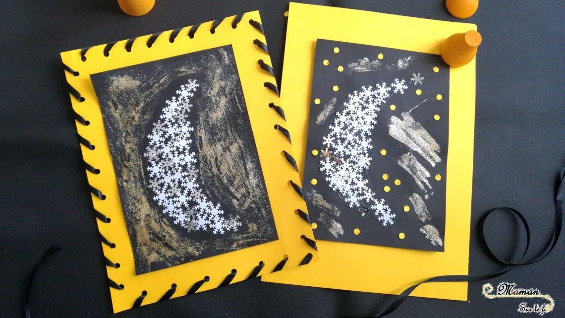 Activité Manuelle Enfants - Lunes Brillantes d'hiver avec flocons et paillettes - collage - RV Sur Le Fil - Tout ce qui brille - Cadre en ruban - Couture - Nuit - Mslf