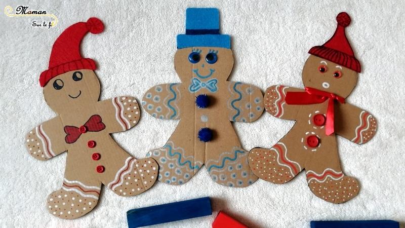 Décorer un petit bonhomme en pain d'épices du conte en carton - feutrine - bouton - activité créative et manuelle enfants - bricolage - DIY - mslf