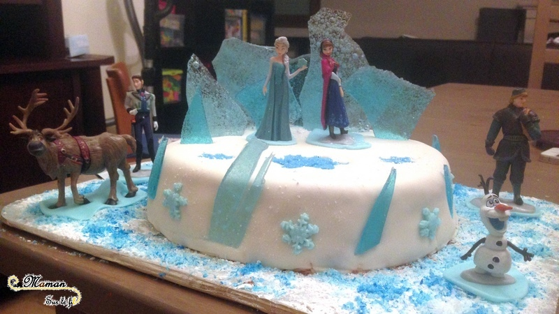 Gâteau Reine des Neiges - idée anniversaire enfants - glace banquise flocon olaf - cake design - mslf