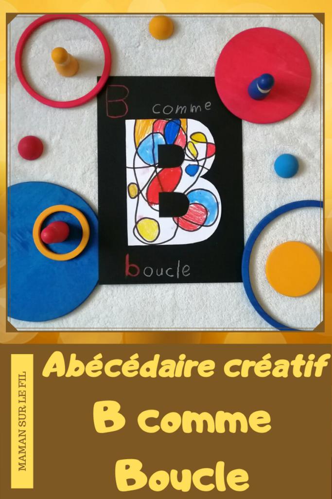 Abécédaire créatif - B comme Boucle à la façon d'alexander calder - couleurs primaires - activité enfants coloriage - lettres - alphabet - mslf
