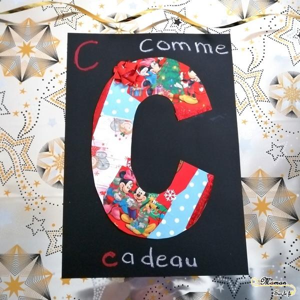 Abécédaire créatif - C comme cadeau et collage - activité enfants récup' - Apprentissage Lettres et Alphabet -Découpage - mslf
