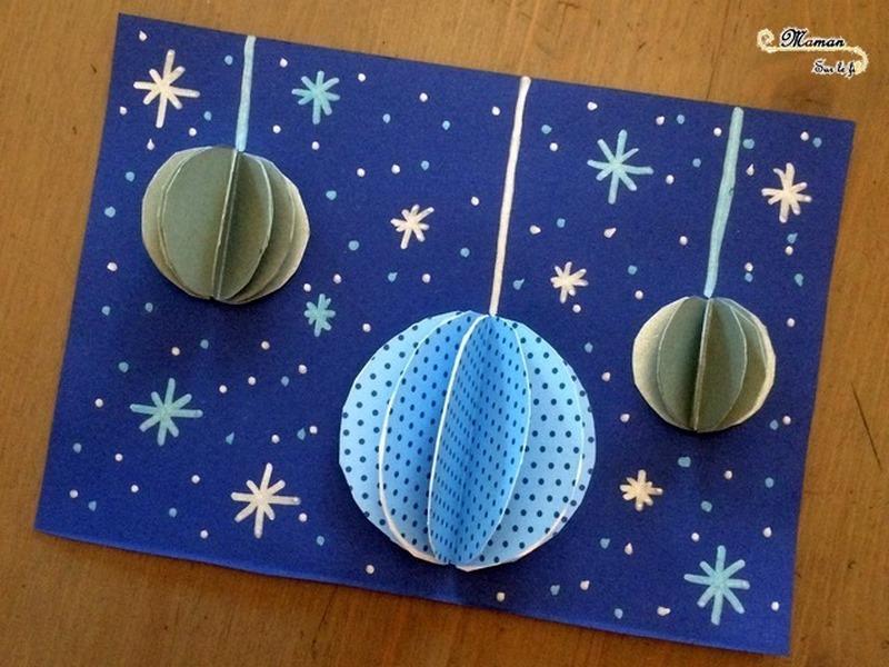 Carte de voeux DIY Boules Noel 3D - Decoration - collage - compas - bricolage activité enfants - créatif - mslf