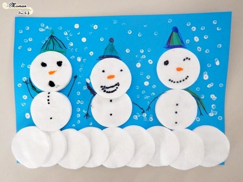 Bonhommes de neige en cotons démaquillants - activité manuelle - hiver - arts visuels maternelle - collage - peinture - pointillisme - mslf