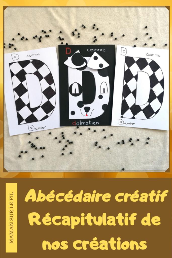 Abécédaire créatif - récapitulatif - activité manuelle enfants - apprentissage lettres et alphabet - maternelle - mslf
