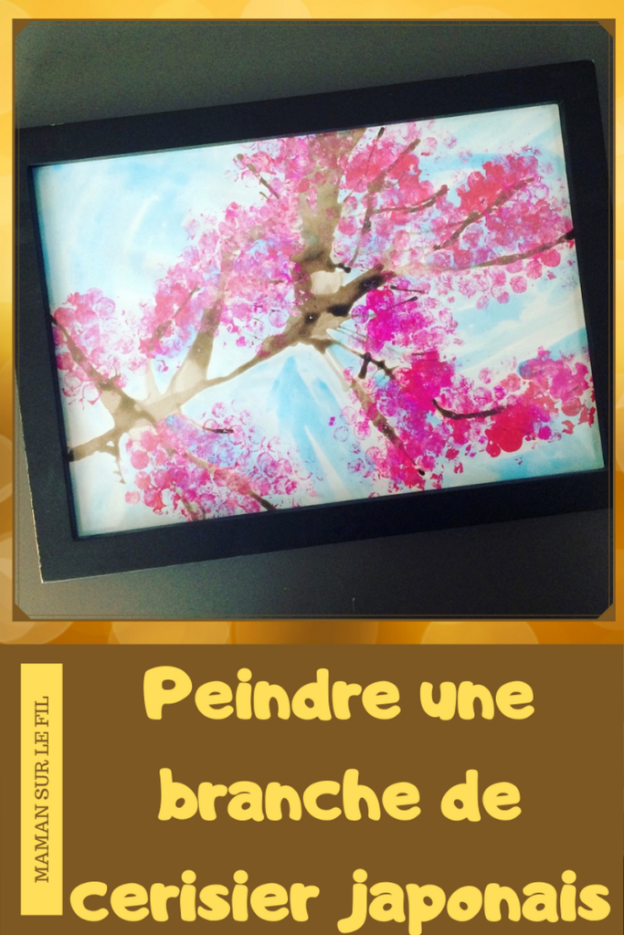 Activité enfants - Peindre une branche de cerisier japonais - Asie - Encre soufflée et peinture au papier bulles - - fleurs roses - Créatif - Arts visuels - mslf