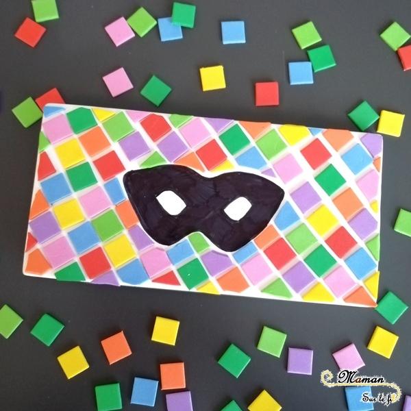 Activité enfants - Créer un tableau masque noir et arlequin - gommettes mousse carrées - carnaval - Mardi - Gras - diy - fait maison - mslf