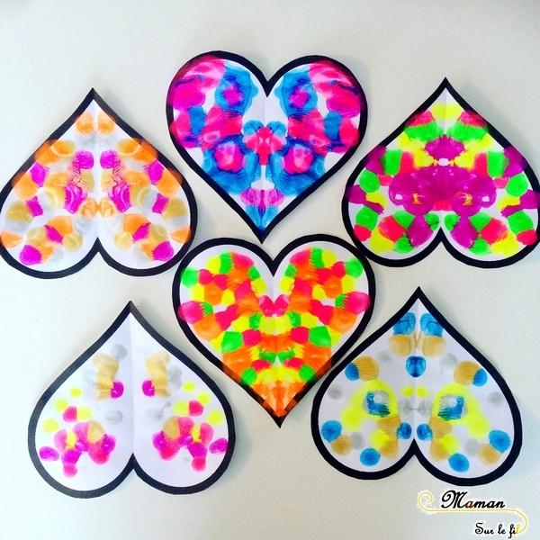 Activité enfants - Coeurs symétrie et peinture - coeurs symétriques - saint-valentin - Amitié, amour - Activité manuelle arts visuels maternelle - mslf