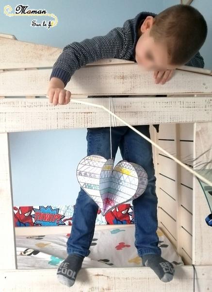 Jeu graphique de la saint-valentin - Graphisme Coeurs avec des dés - suspension 3D - DIY - Bricolage - Reproduction modèle - Amour - amitié - maternelle - mslf