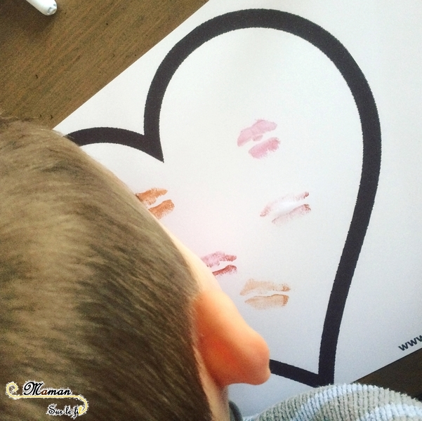 Activité enfants - Coeurs avec du rouge à lèvres - bisous - saint-valentin - Amitié, amour - Activité manuelle arts visuels maternelle - mslf