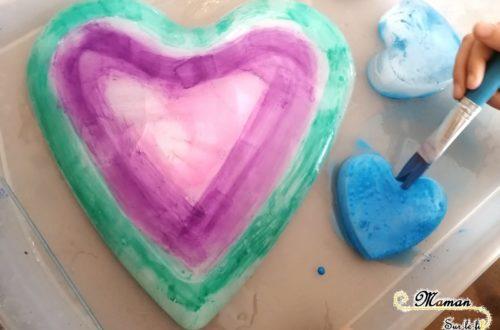 Activité créative et sensorielle Enfants - Peindre des coeurs glacés - glaçons - hiver et froid - amour amitié Saint-Valentin - mslf
