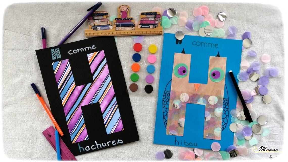 Abécédaire créatif - H comme hachures et hibou - activité manuelle enfants - peinture et bricolage - collage - apprentissage lettres alphabet - maternelle - mslf