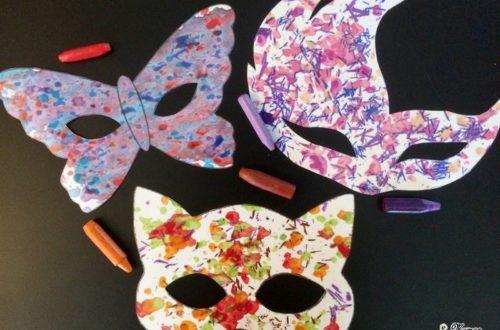 Activité enfants - fabriquer un masque avec des pastels fondus - carnaval - Mardi - Gras - tailler crayons cire - diy - fait maison - mslf
