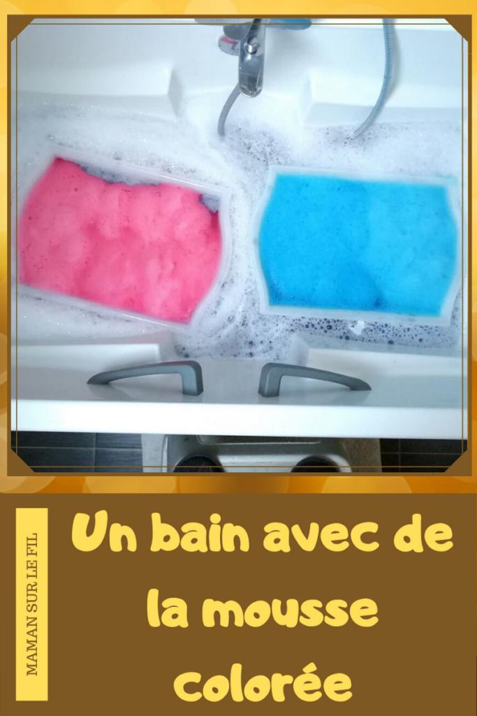 Activité enfants sensorielle - Mousse colorée - bain moussant - rose bleu violet - toucher- odorat - mélange de couleurs - sensoriel - mslf
