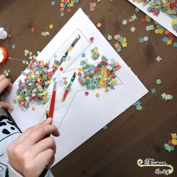 Abécédaire créatif - K comme Kermesse - activité manuelle enfants - collage confettis - carnaval - mardi-gras - bricolage - apprentissage lettres alphabet - maternelle - mslf