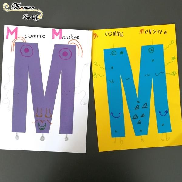 Abécédaire créatif - M comme Monstre et Mosaïque - activité manuelle enfants - dessin au dé - gommettes couleurs dégradé - apprentissage lettres alphabet - maternelle - mslf