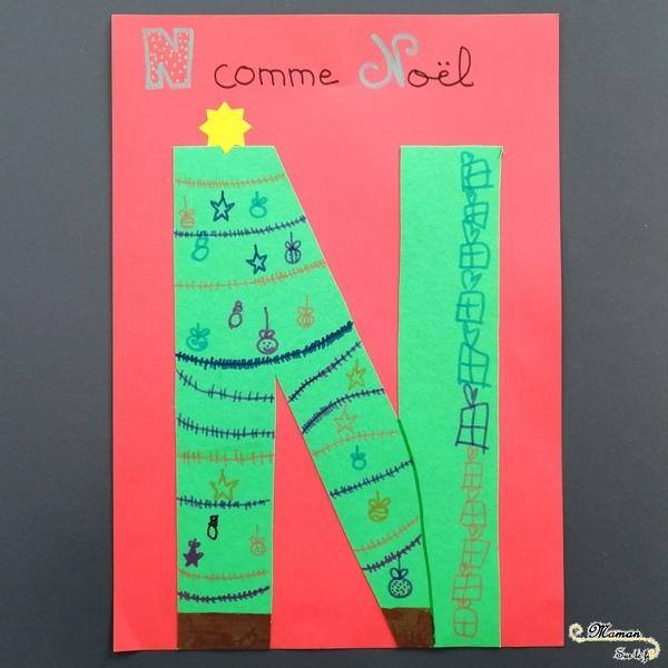 Abécédaire créatif - N comme Nuages et Noël - activité manuelle enfants - dessin sapin cadeaux - peinture au bouchon - apprentissage lettres alphabet - maternelle - mslf