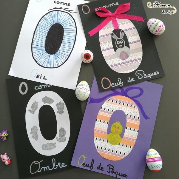 Abécédaire créatif - O comme Ombre Oeil et Oeuf de Pâques - activité manuelle enfants - dessin masking-tape - apprentissage lettres alphabet - maternelle - mslf
