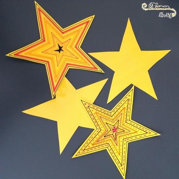 Activité enfants - invitation à créer - décorer des étoiles jaunes - contour feutre dessin graphisme - superposition soleil - bricolage - arts visuels - nuit - mslf