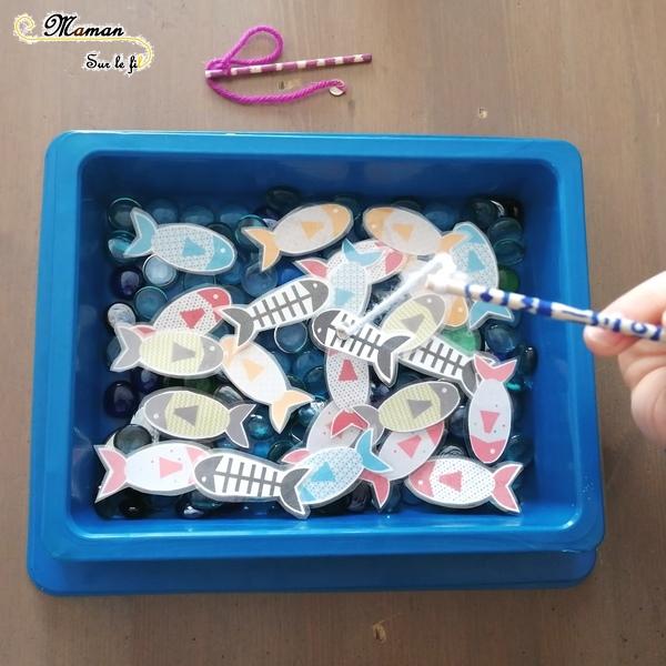 Activité enfants - fabriquer jeux pêche à la ligne DIY Faits maison - récup' - poissons aimantés - magnétique et canne à pêche - 1er avril - poisson avril - mslf