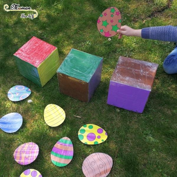 Activité enfants - jeu de pâques géant diy fait maison - Reconnaissance couleurs avec dés géants - vitesse et chasse aux oeufs - printable gratuit - à imprimer gratuitement - jardin - jeu evolutif - mslf