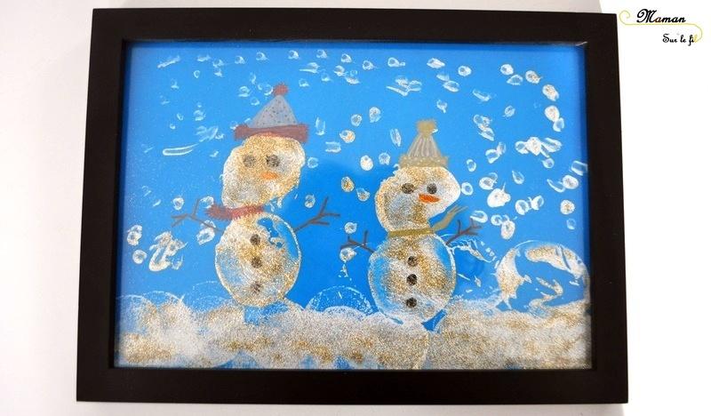 Bonhommes de neige peints avec des pommes de terre - activité manuelle - hiver - arts visuels maternelle - peinture paillettes - pointillisme - mslf
