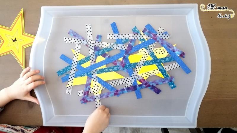 Activité enfants - Libérer les étoiles du masking-tape - étoiles et nuit - motricité fine et logique - scotch décoratif - sciences - espace - maternelle - ciel - mslf