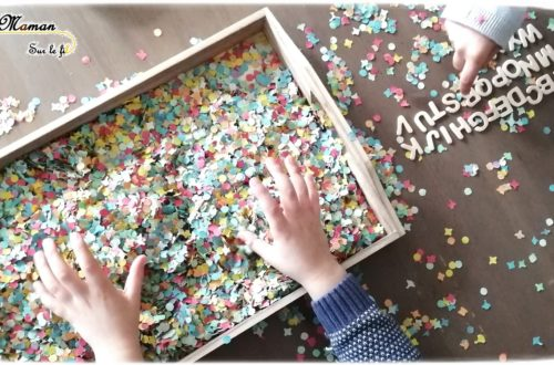 Activité Enfants - plateau sensoriel - carnaval - mardi-gras - confettis et lettres en bois - jeu - cherche et trouve - mots - pendu - mslf
