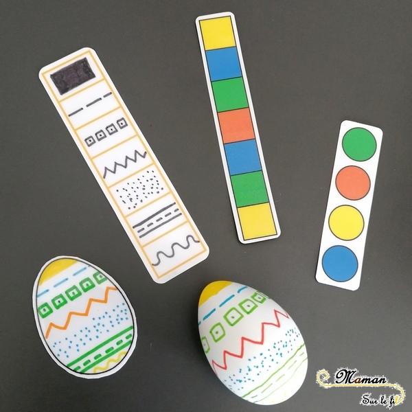 Activité enfants - jeu d'association d'oeufs de pâques diy fait maison - Reconnaissance couleurs et motifs - dessin et graphisme - mslf