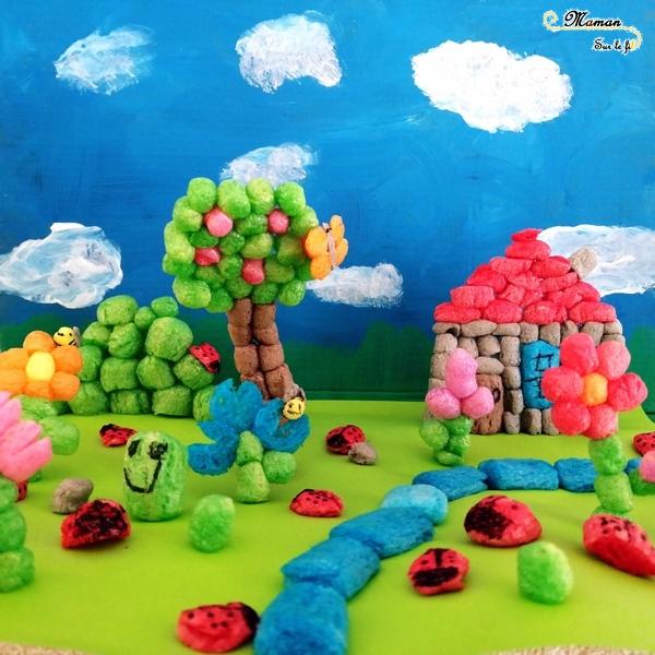 Activité enfants - Créer un paysage printanier en playmais - flocon de mais - jardin des insectes - petites bêtes - Maison, arbre, fleurs, coccinelles, papillons, abeilles - activité créative - mslf