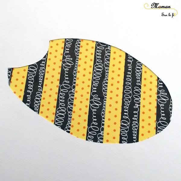 Activité Enfants - Tableau abeilles en bandes de papier avec motifs - Collage - Peinture - fourchette - dessin - Fleurs - Arts Visuels maternelle - mslf