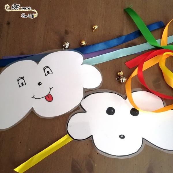 activité sensorielle enfants - fabriquer un carillon nuage et arc-en-ciel avec des grelots et du ruban - bricolage diy - ouïe - son -jardin - suspension extérieure - mslf
