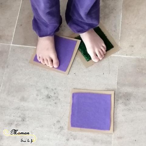 Memory tactile Fait maison DIY - pour mains et pieds - Sensoriel - toucher -Recup carton - Activité enfants - mslf