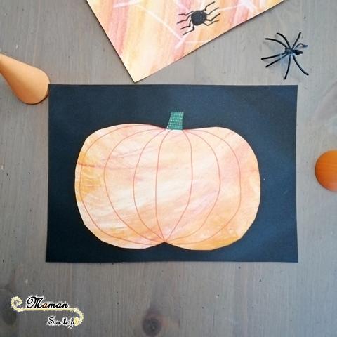 Activité enfants - tableaux d'automne et d'halloween aux crayons Woody aquarellables - citrouille - araignée - feuilles mortes - toile - mslf