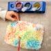 Activité enfants - plateau sensoriel et créatif autour de la grêle - colorer un bloc de grêle - hiver - mslf
