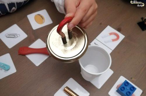 activité enfant - atelier magnétique ou amagnétique - manipulation expérience cartes nomenclature - test objets magnétique ou non - mslf