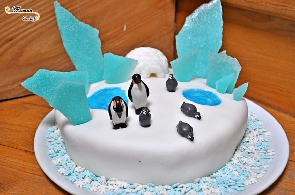 Idée gâteau anniversaire enfant - banquise et pingouins - Glace, neige, gel alimentaire, igloo en pâte à sucre - mslf