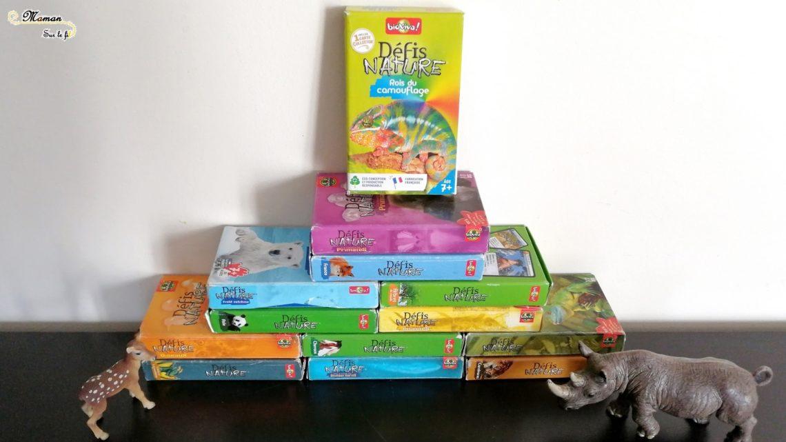 Jeu de société enfants - Test avis des défis nature de bioviva - jeu de cartes bataille autour des animaux, nature, science, géographie - mslf