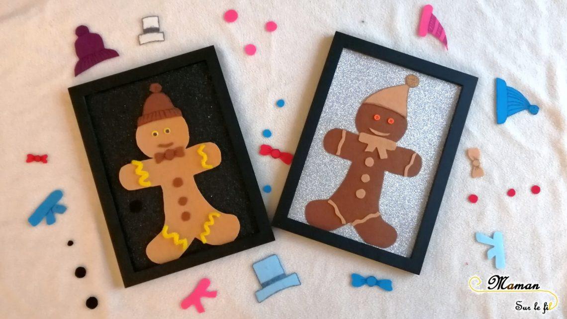 Petit bonhomme en pain d'épices en feutrine à décorer et personnaliser à volonté - Créatif et éphémère - bouton - loose parts - activité enfants - mslf