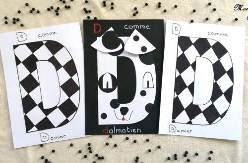 Abécédaire créatif - D comme dalmatien et damier - activité manuelle enfants - apprentissage lettres et alphabet - maternelle - mslf