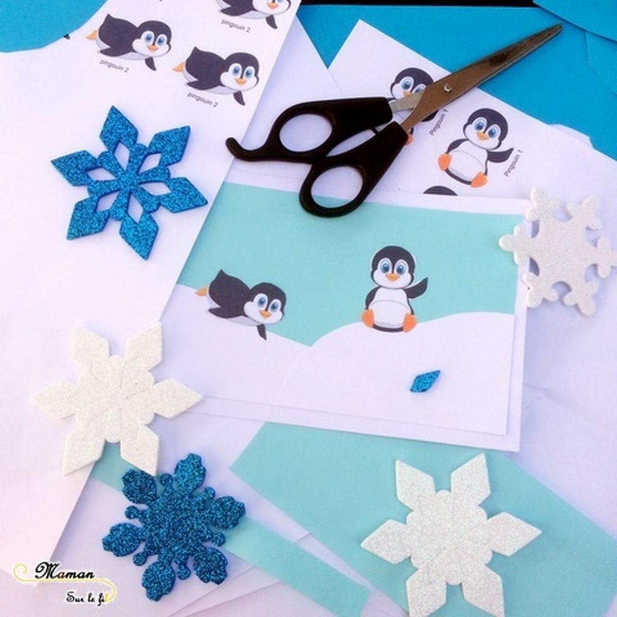 Carte d'invitation Anniversaire DIY - Pingouins et Banquise - collage - bricolage activité enfants - créatif - mslf