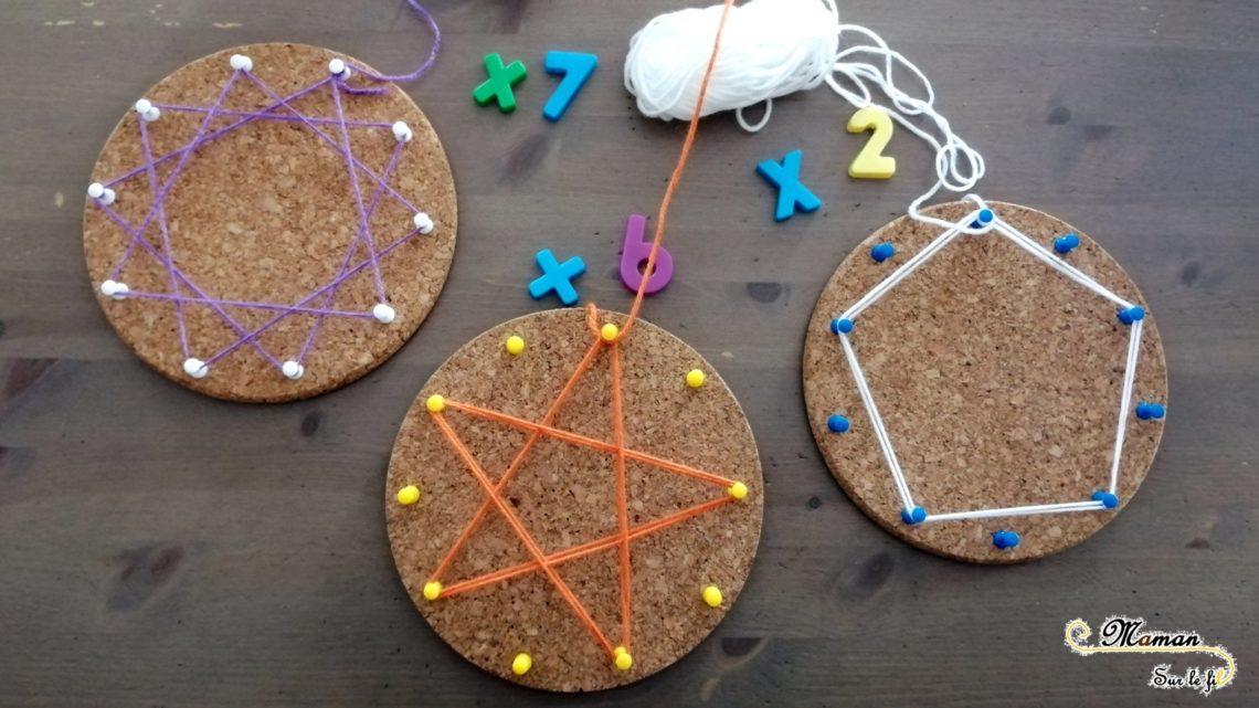 apprendre - réviser ses tables de multiplication en s'amusant - ludique - pédagogie waldorf steiner - activité éducative mathématiques - Fabriquer des étoiles avec laine et liège - créatif - mslf